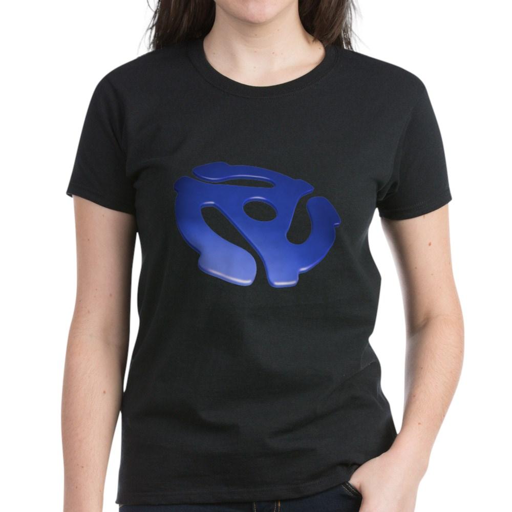 Blue 3D 45 RPM Adapter Women's Dark T-Shirt