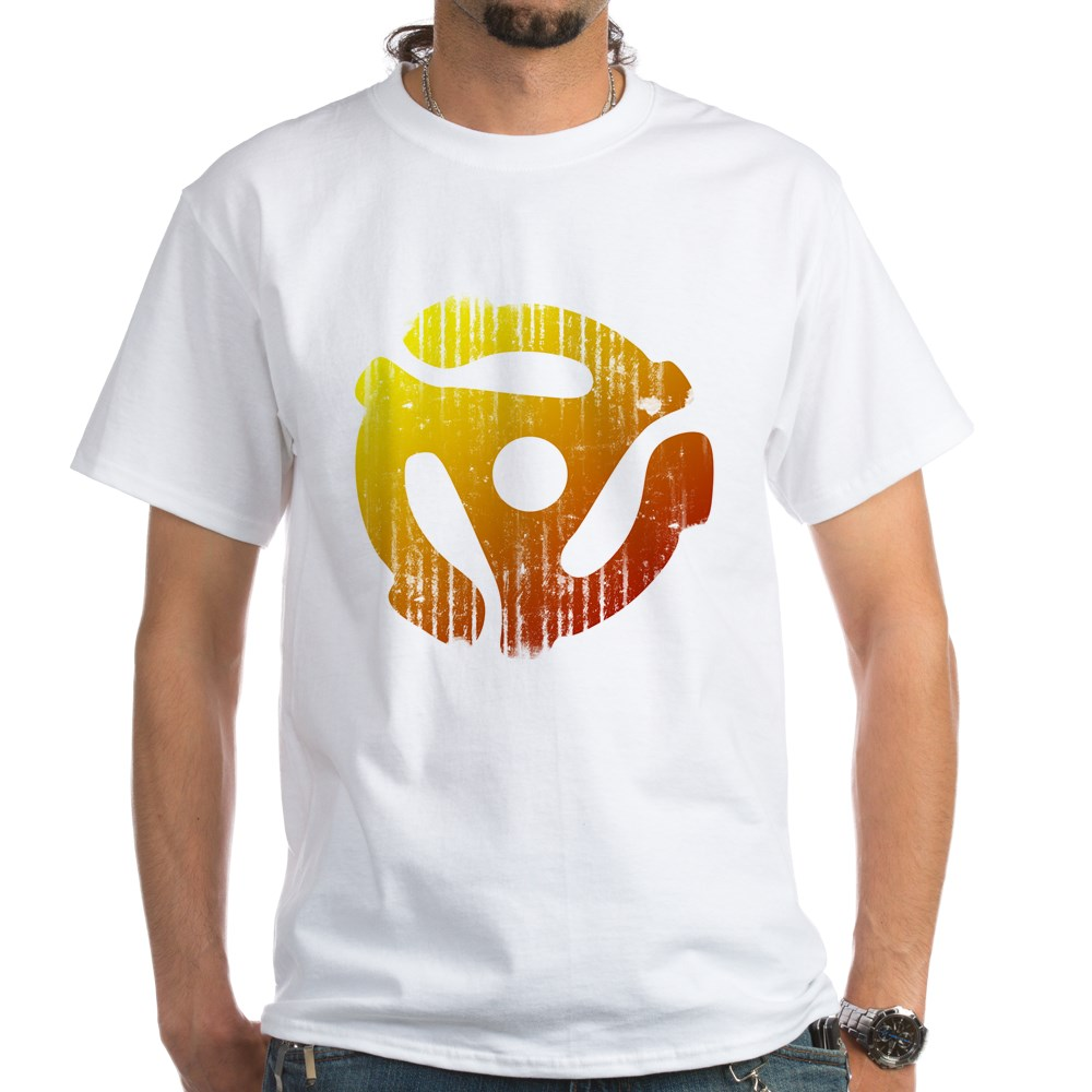 Distressed 45 RPM Adapter White T-Shirt