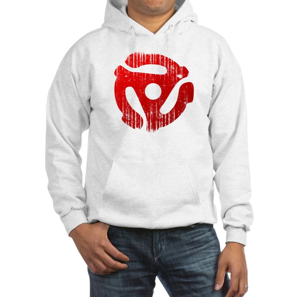 Distressed Red 45 RPM Adapter Hooded Sweatshirt