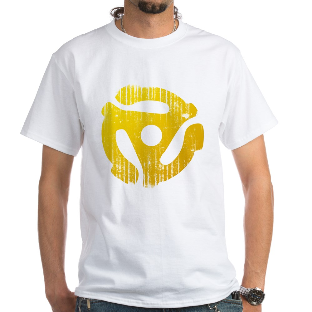 Distressed Yellow 45 RPM Adapter White T-Shirt