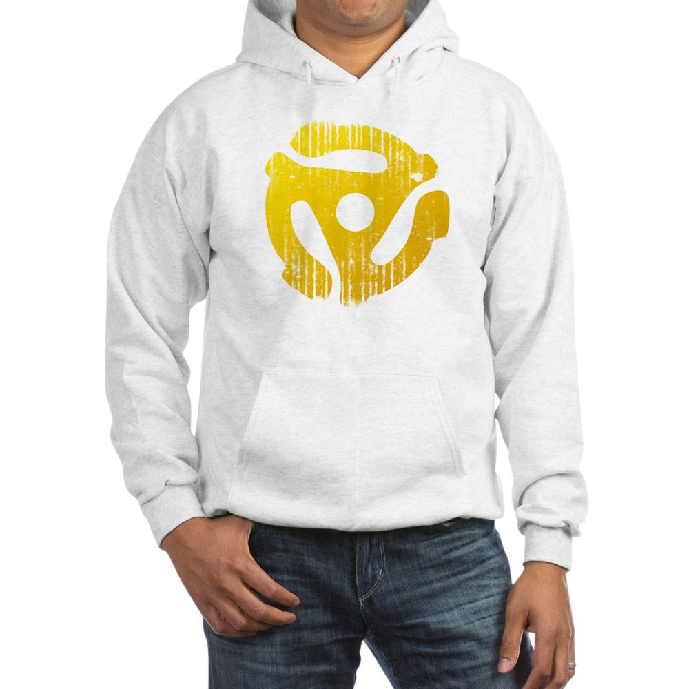 Distressed Yellow 45 RPM Adapter Hooded Sweatshirt