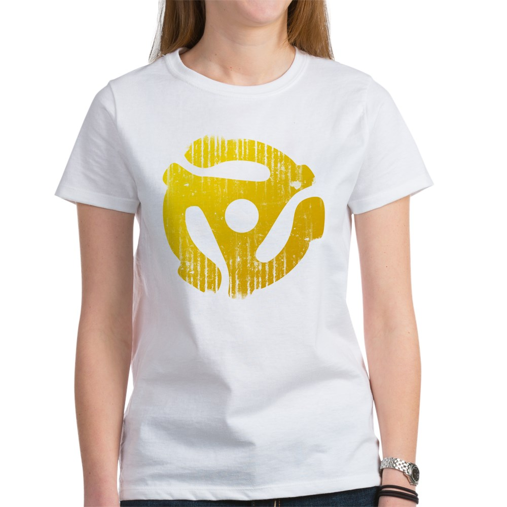 Distressed Yellow 45 RPM Adapter Women's T-Shirt
