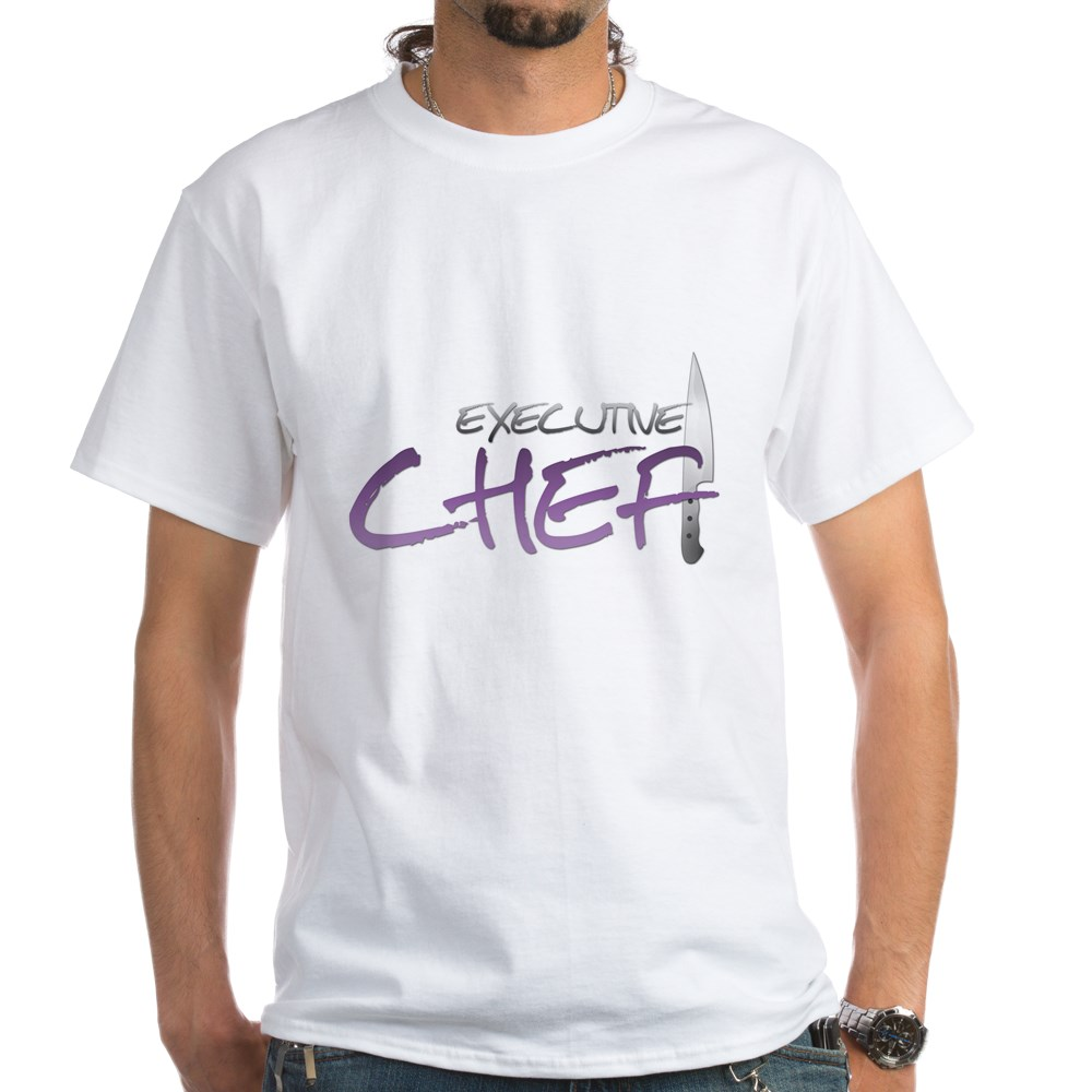 Purple Executive Chef White T-Shirt