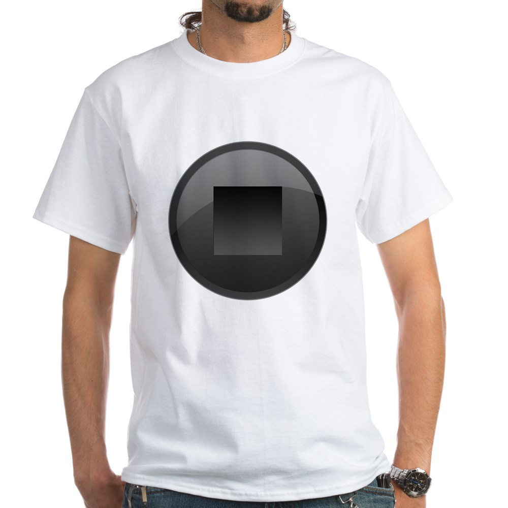 Black Stop Button White T-Shirt