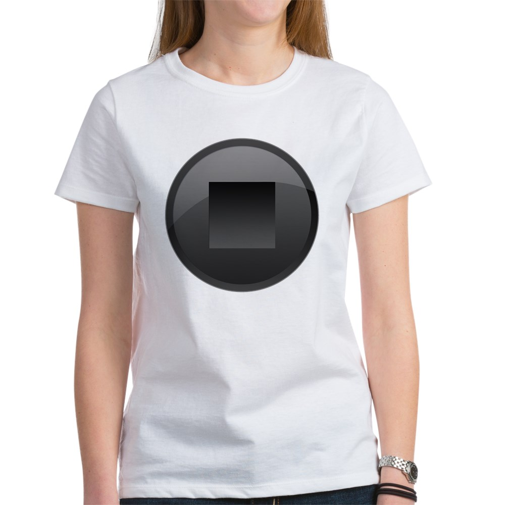 Black Stop Button Women's T-Shirt