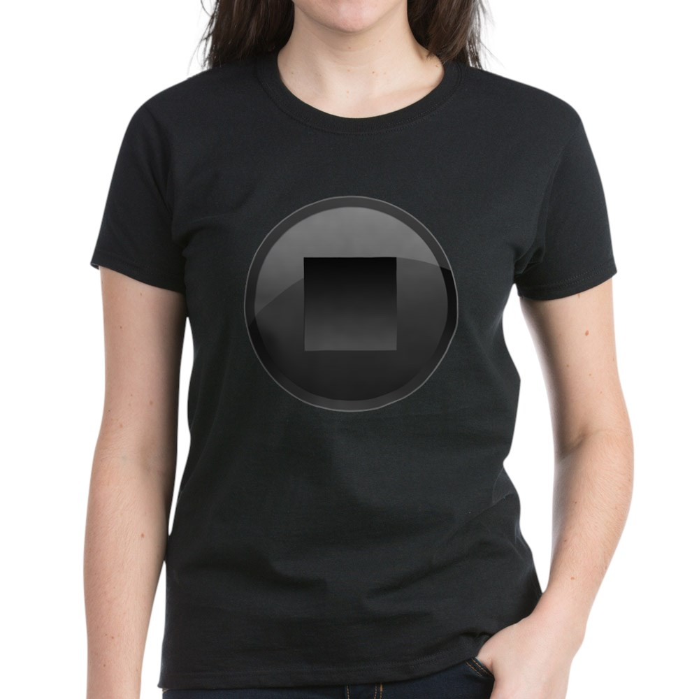 Black Stop Button Women's Dark T-Shirt