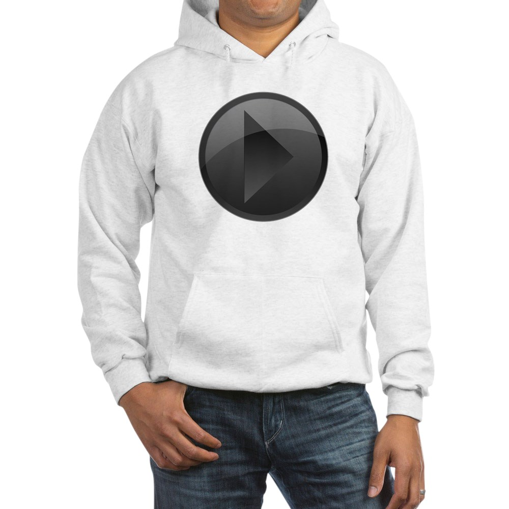 Black Play Button Hooded Sweatshirt