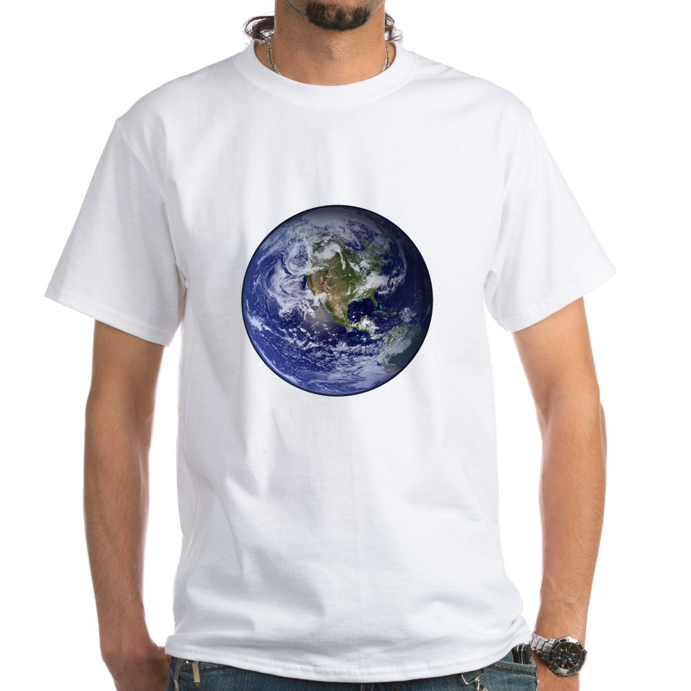 Western Earth from Space White T-Shirt