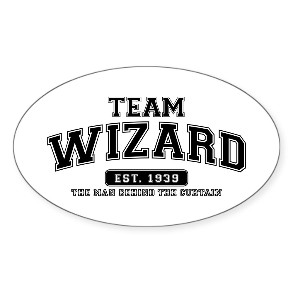Team Wizard - The Man Behind the Curtain Oval Sticker