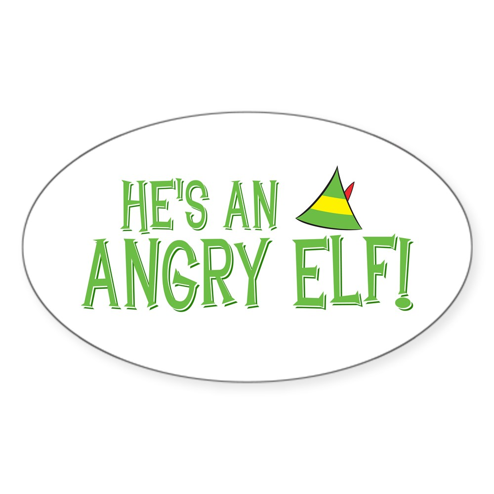 He's an Angry Elf! Oval Sticker