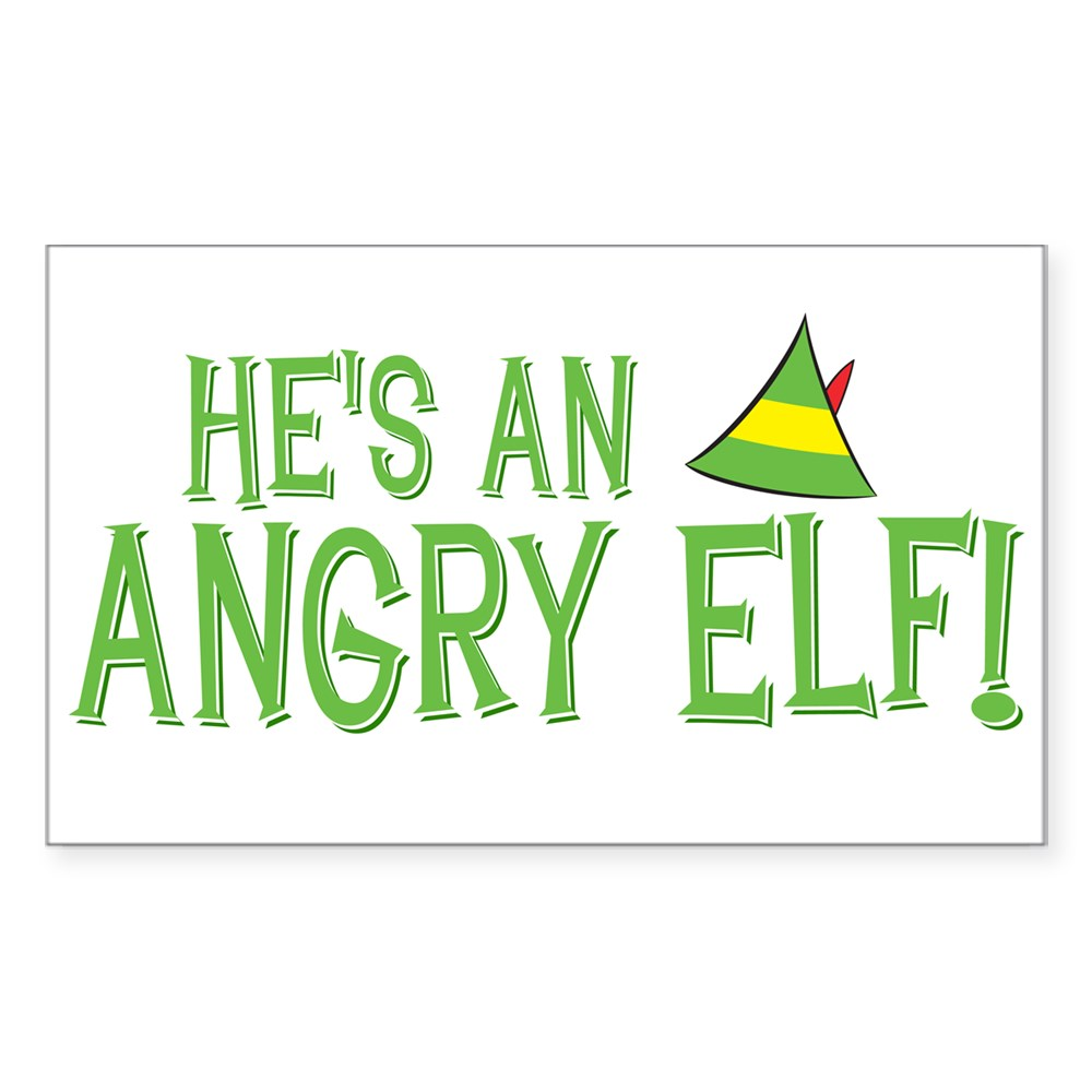 He's an Angry Elf! Rectangle Sticker