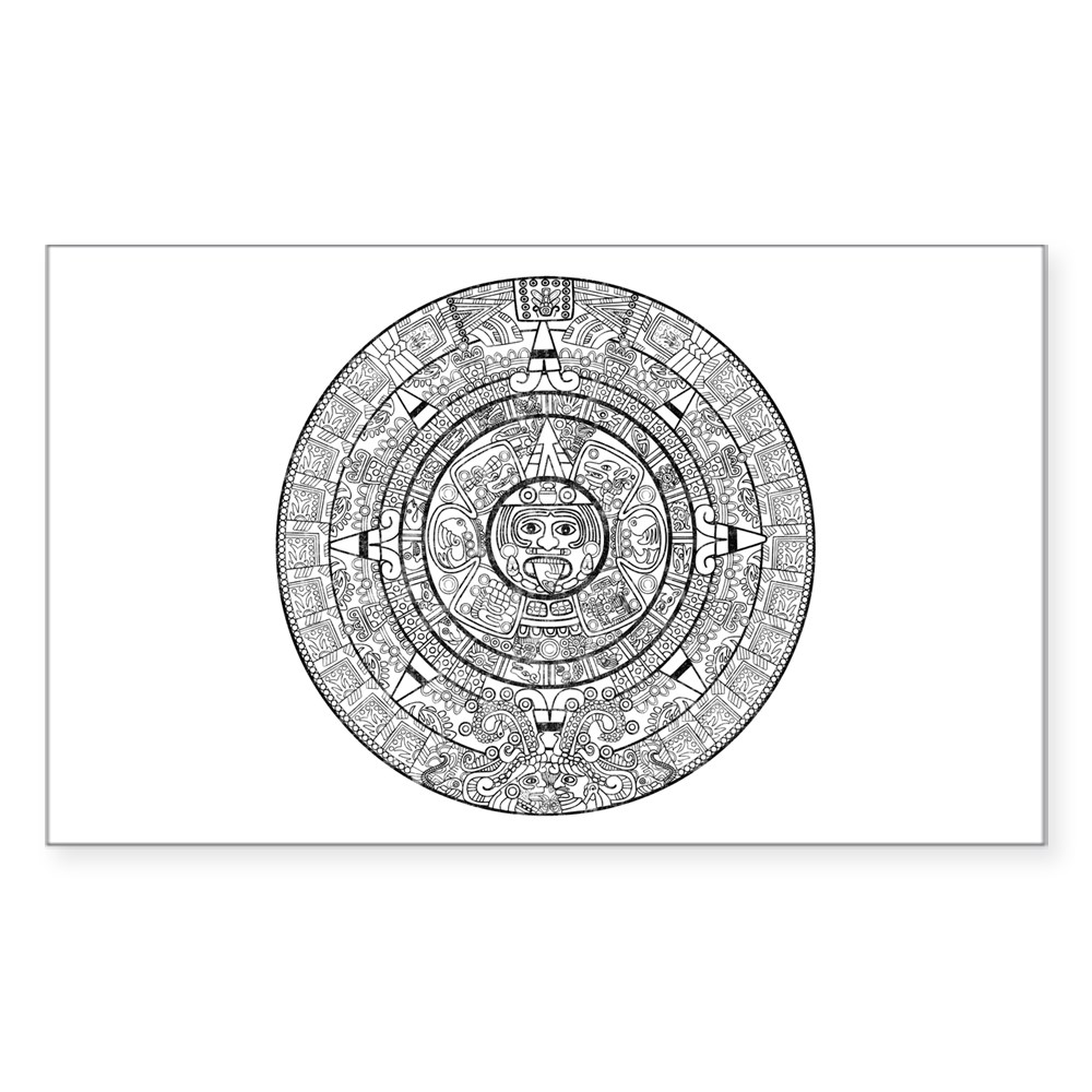 Aztec Sun Stone Calendar Rectangle Sticker