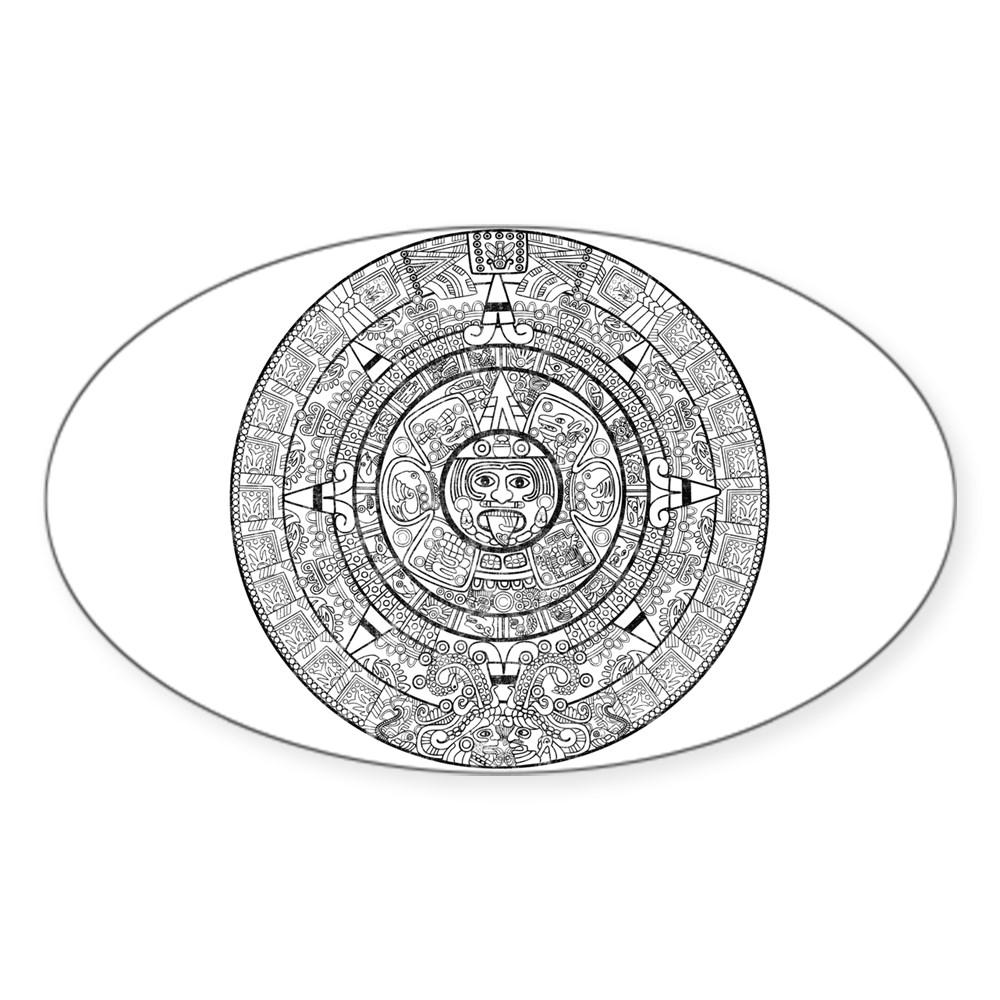 Aztec Sun Stone Calendar Oval Sticker