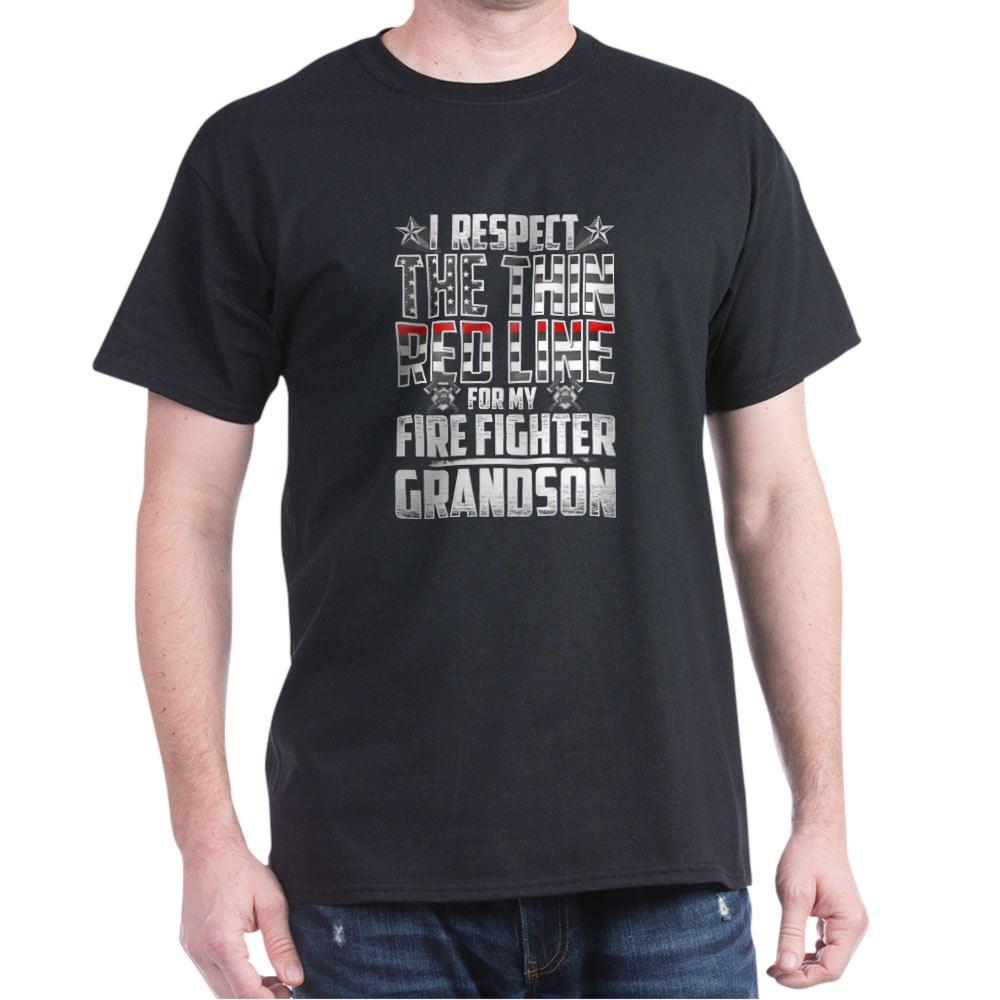 Grandson Fire Fighter Thin Red Line Dark T-Shirt