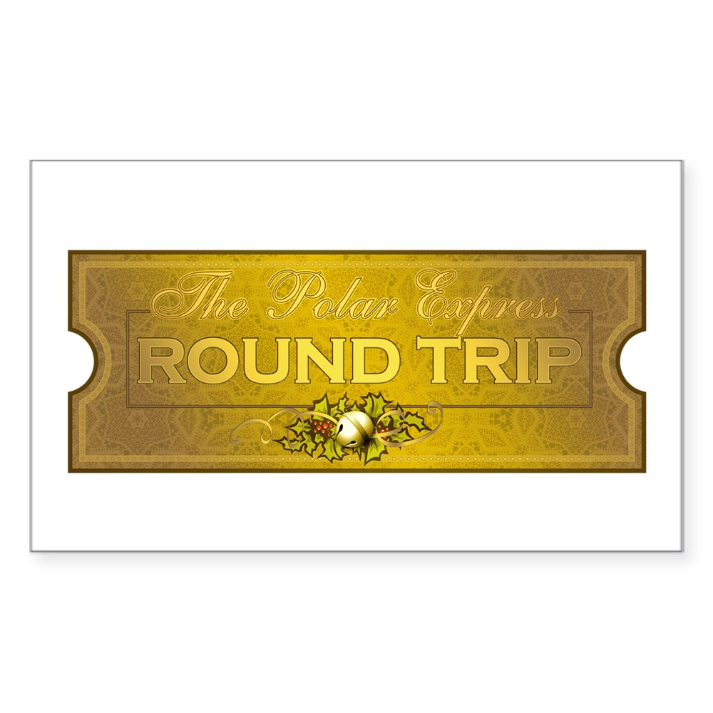 Polar Express - Round Trip Ticket Rectangle Sticker