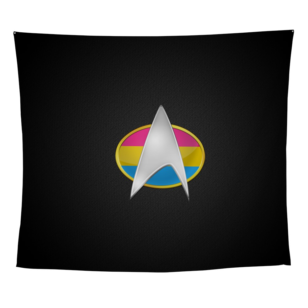 Pansexual Pride Flag TNG Combadge Wall Tapestry