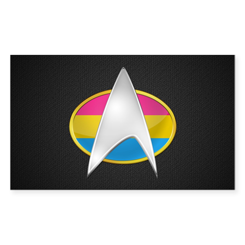 Pansexual Pride Flag TNG Combadge Rectangle Sticker