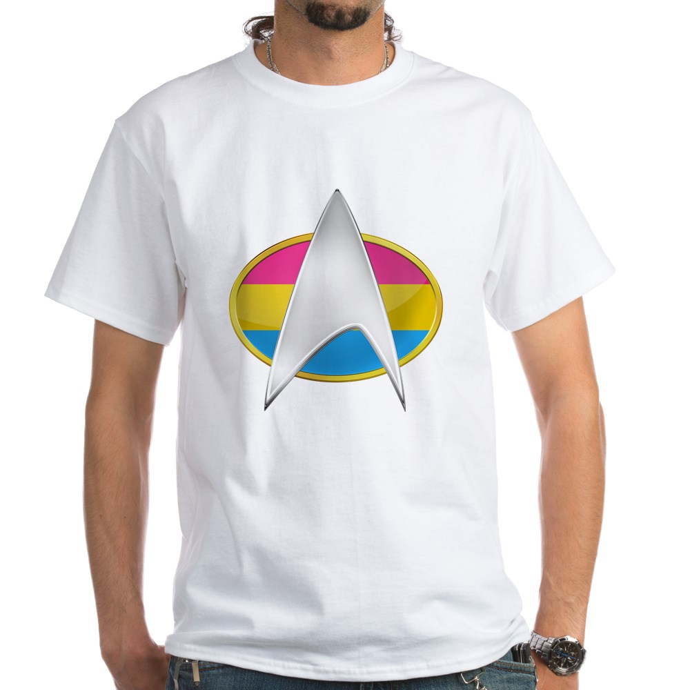 Pansexual Pride Flag TNG Combadge White T-Shirt