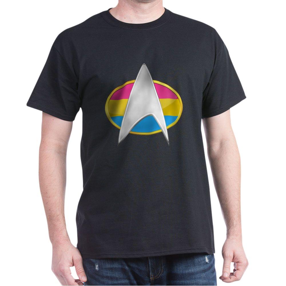 Pansexual Pride Flag TNG Combadge Dark T-Shirt