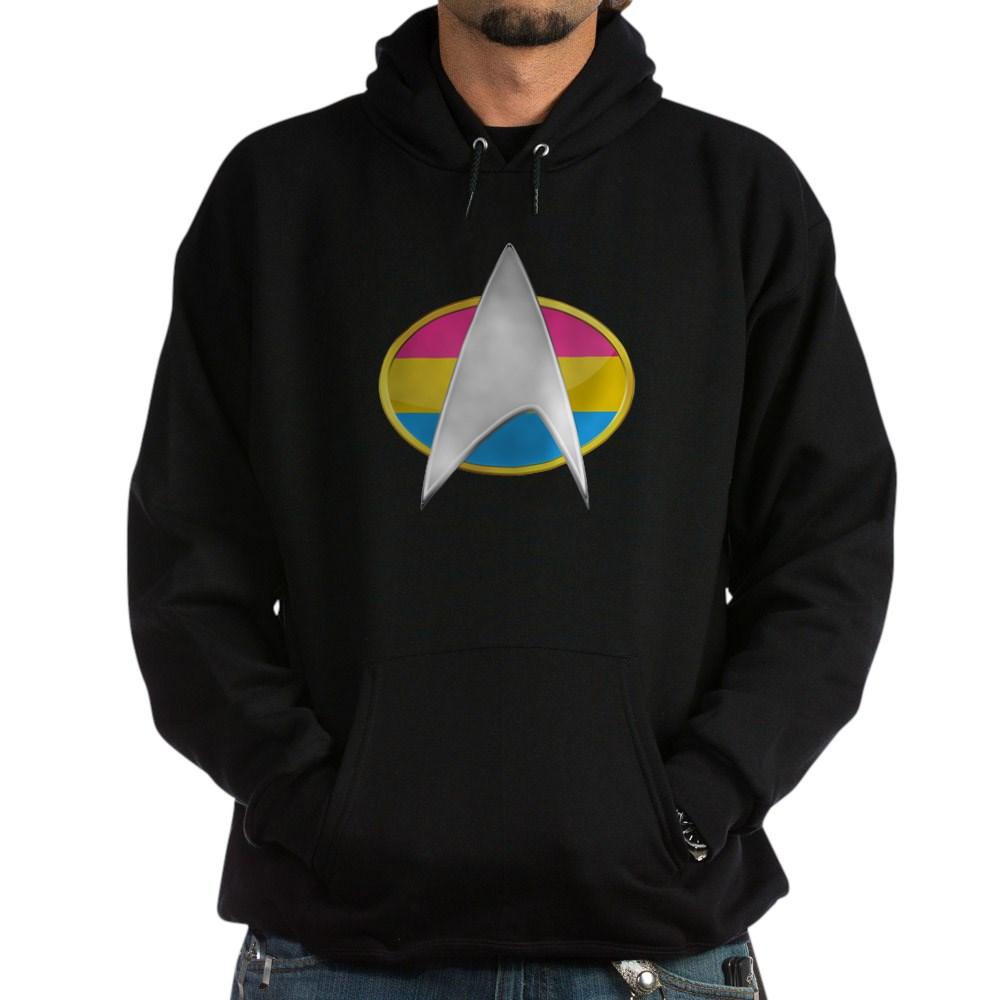 Pansexual Pride Flag TNG Combadge Dark Hoodie