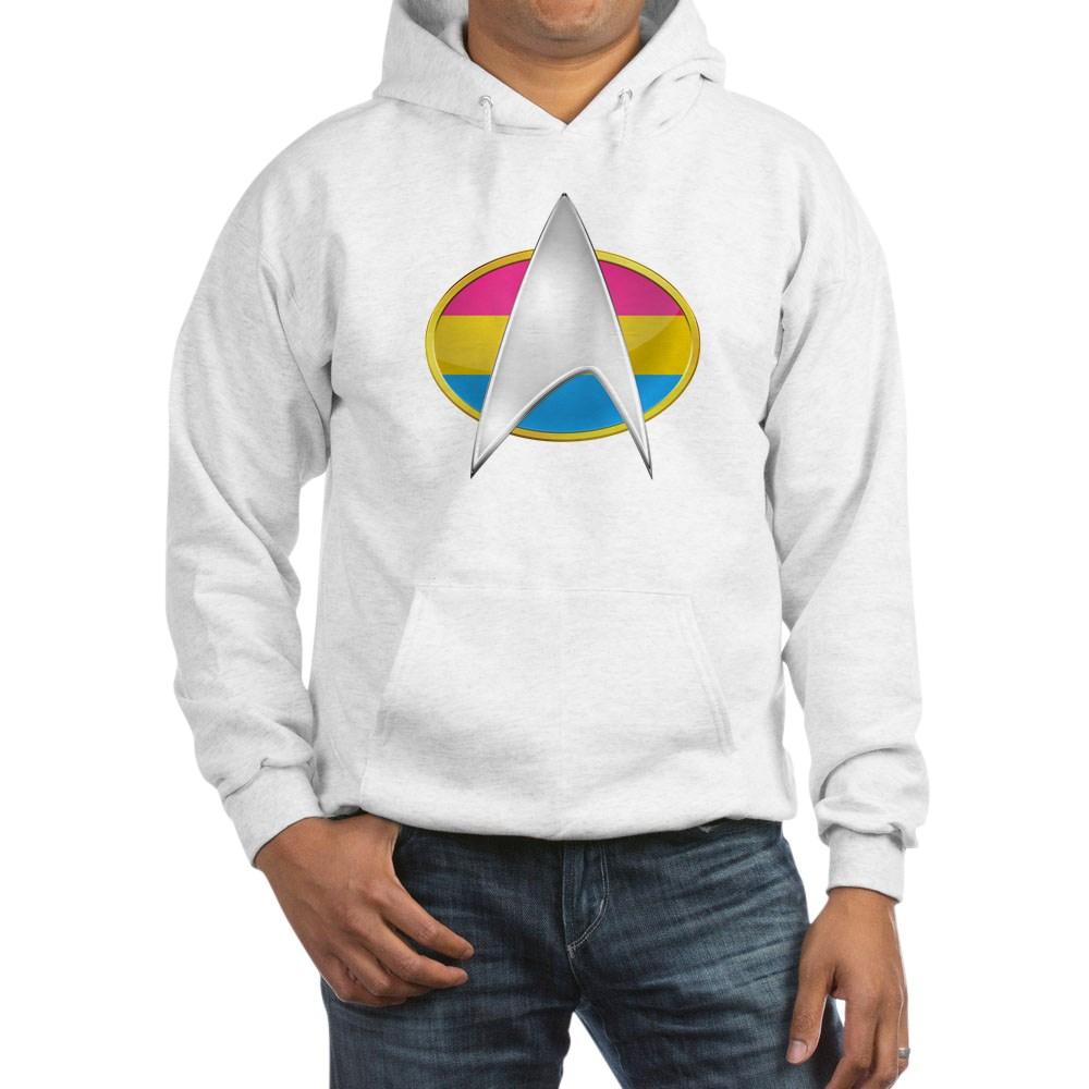 Pansexual Pride Flag TNG Combadge Hooded Sweatshirt