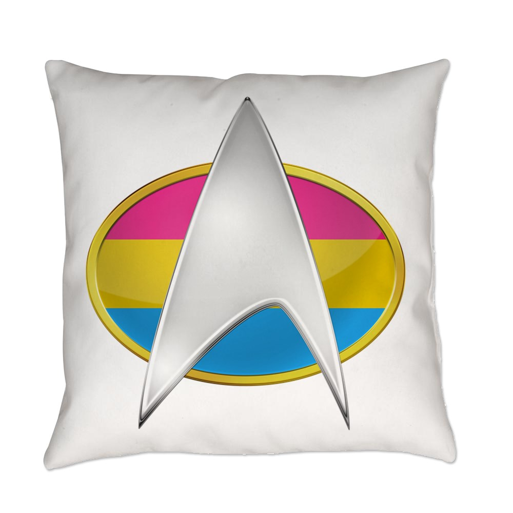 Pansexual Pride Flag TNG Combadge Everyday Pillow