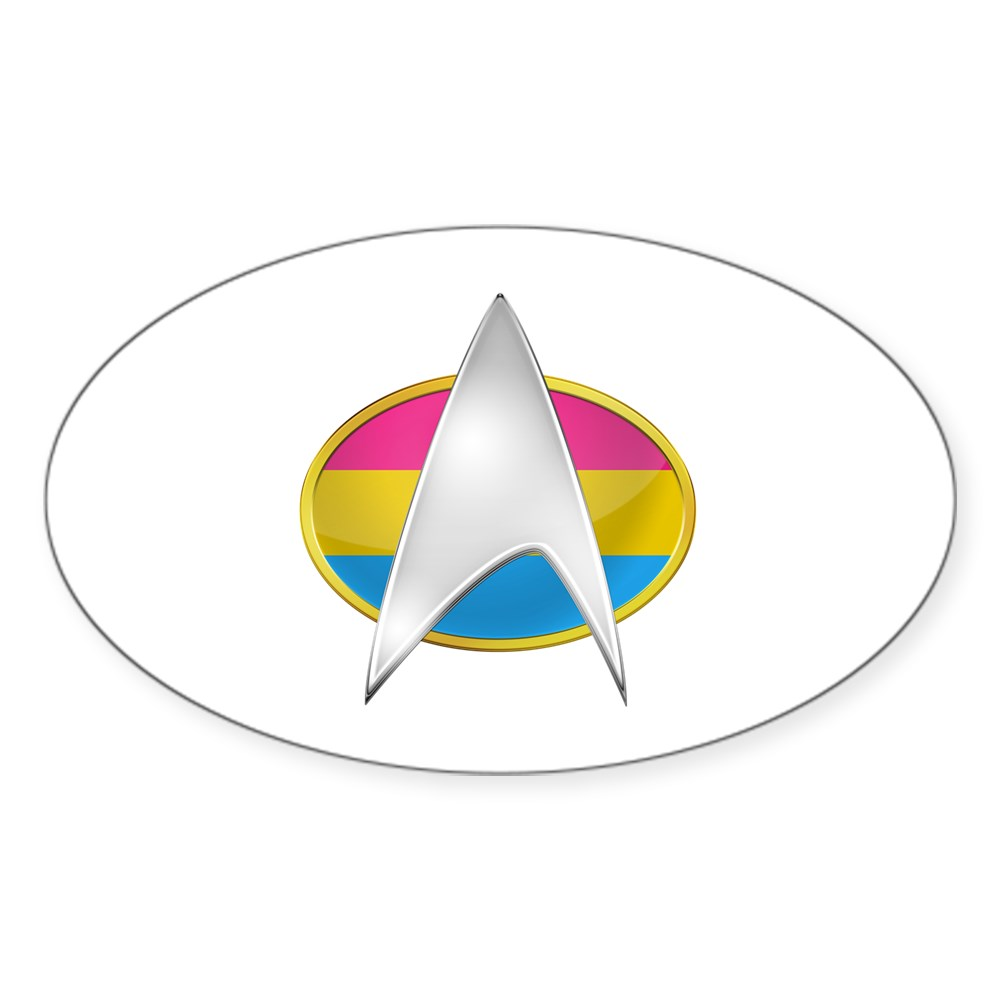 Pansexual Pride Flag TNG Combadge Oval Sticker