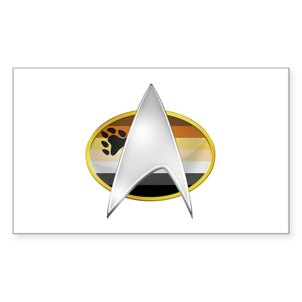 Gay Bear Pride Flag TNG Combadge Rectangle Sticker