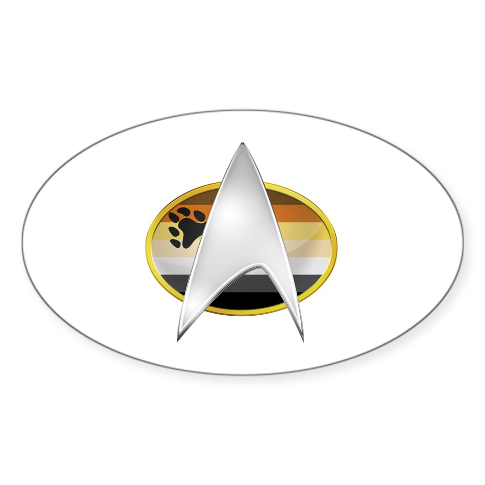 Gay Bear Pride Flag TNG Combadge Oval Sticker