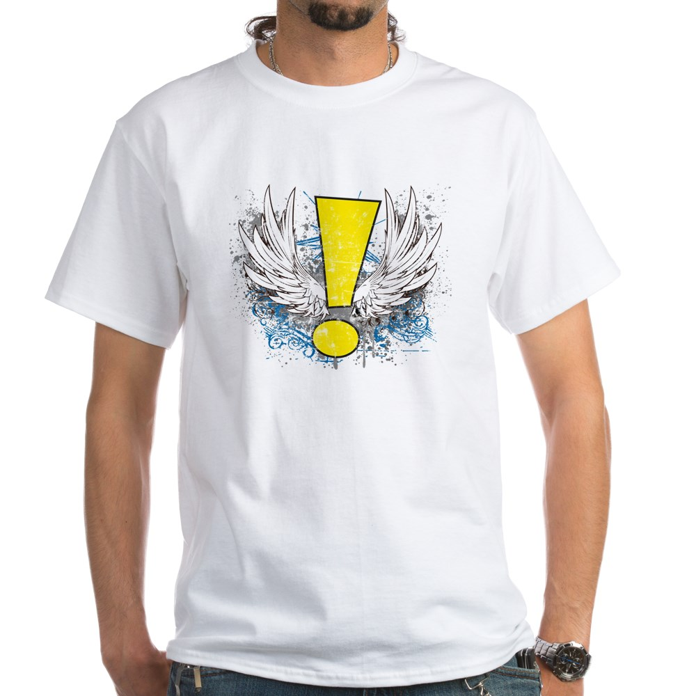 Winged Whee! Exclamation Point Logo White T-Shirt