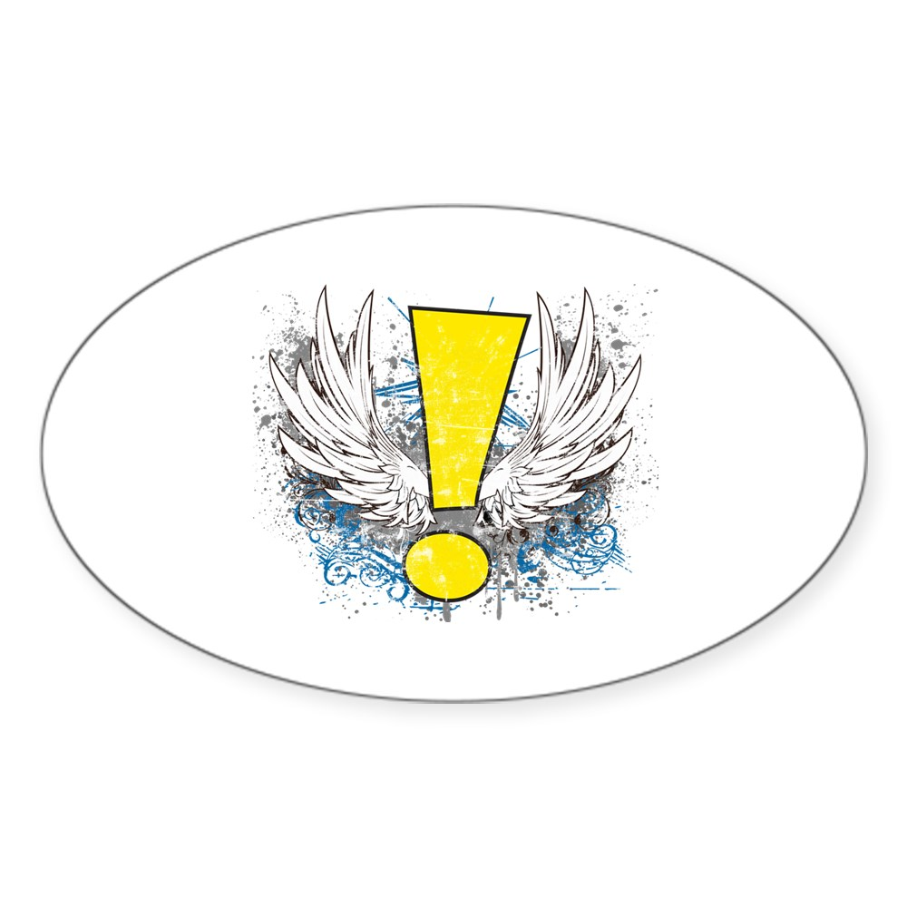Winged Whee! Exclamation Point Logo Oval Sticker
