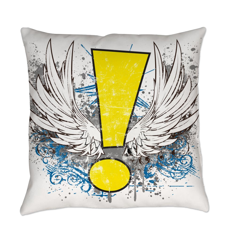 Winged Whee! Exclamation Point Logo Everyday Pillow