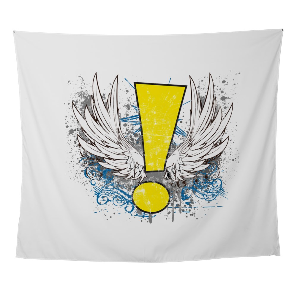 Winged Whee! Exclamation Point Logo Wall Tapestry