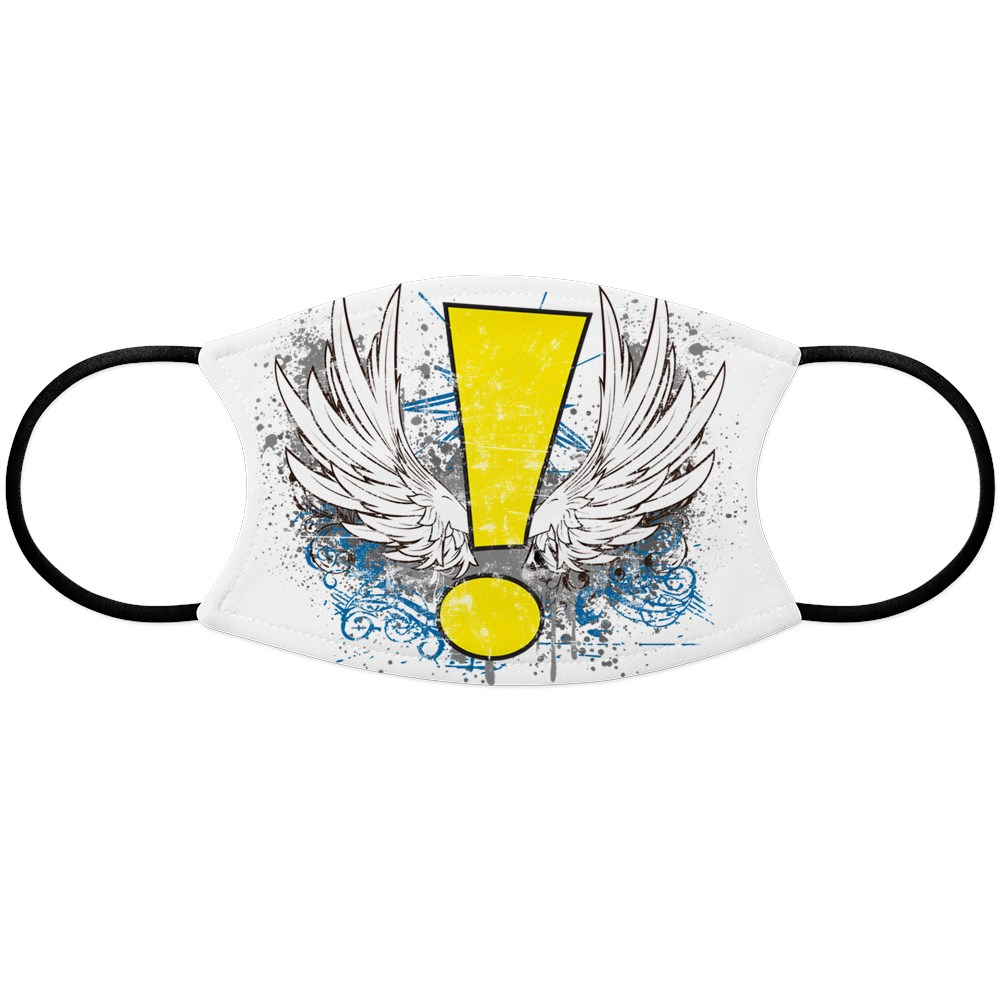 Winged Whee! Exclamation Point Logo Face Mask