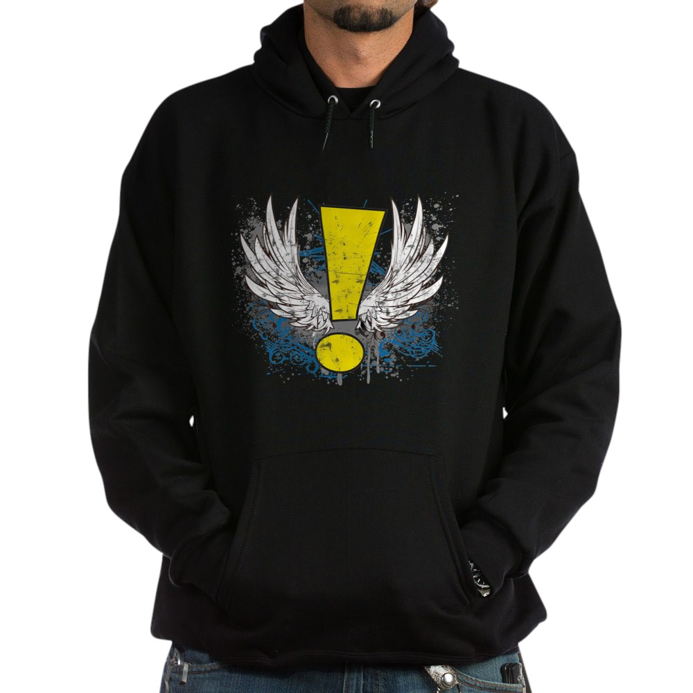 Winged Whee! Exclamation Point Logo Dark Hoodie