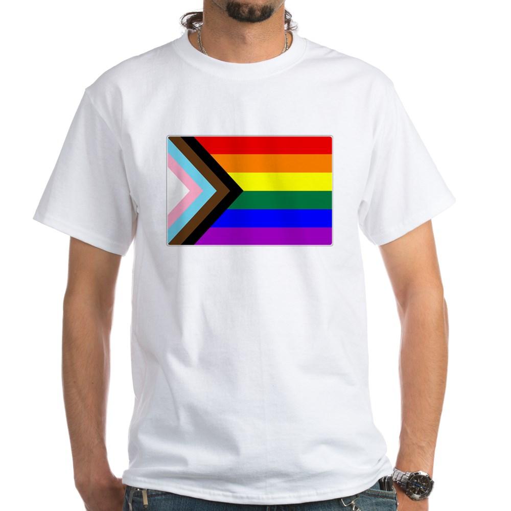 Progress LGBTQ Gay Pride Flag White T-Shirt