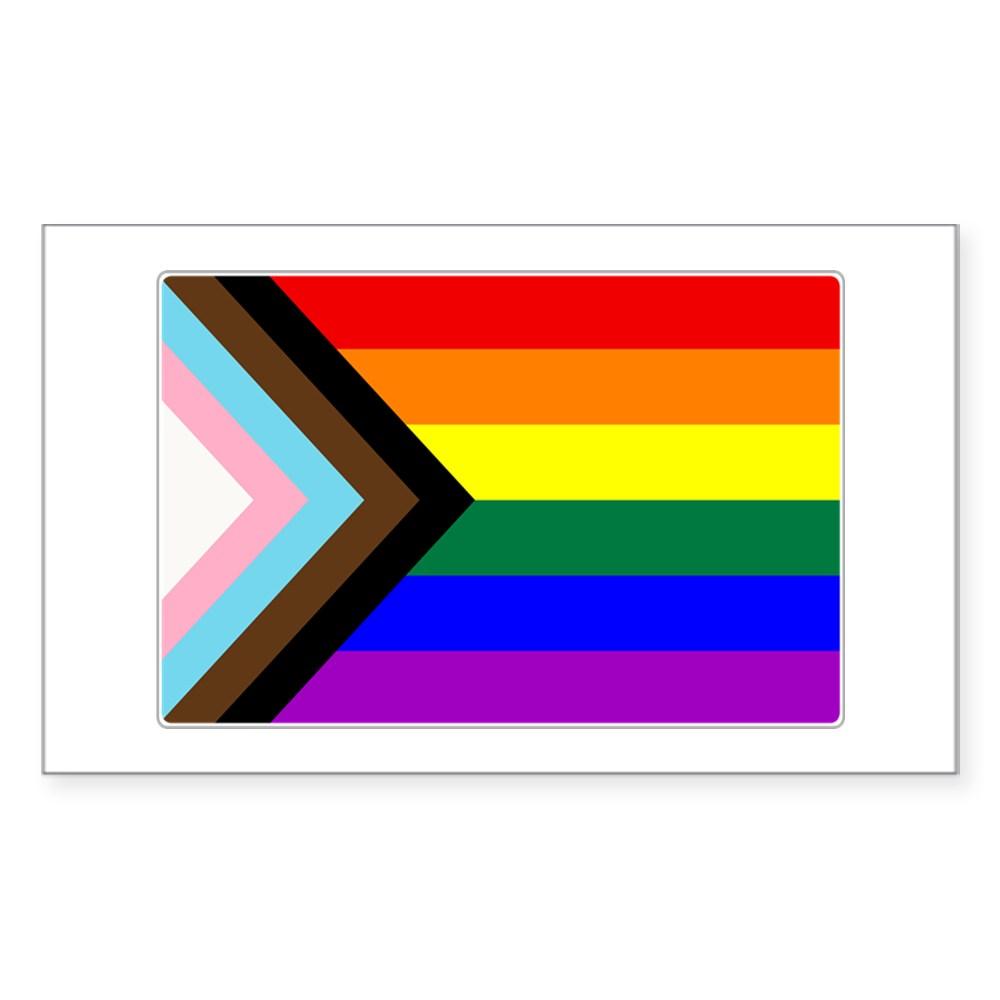 Progress LGBTQ Gay Pride Flag Rectangle Sticker