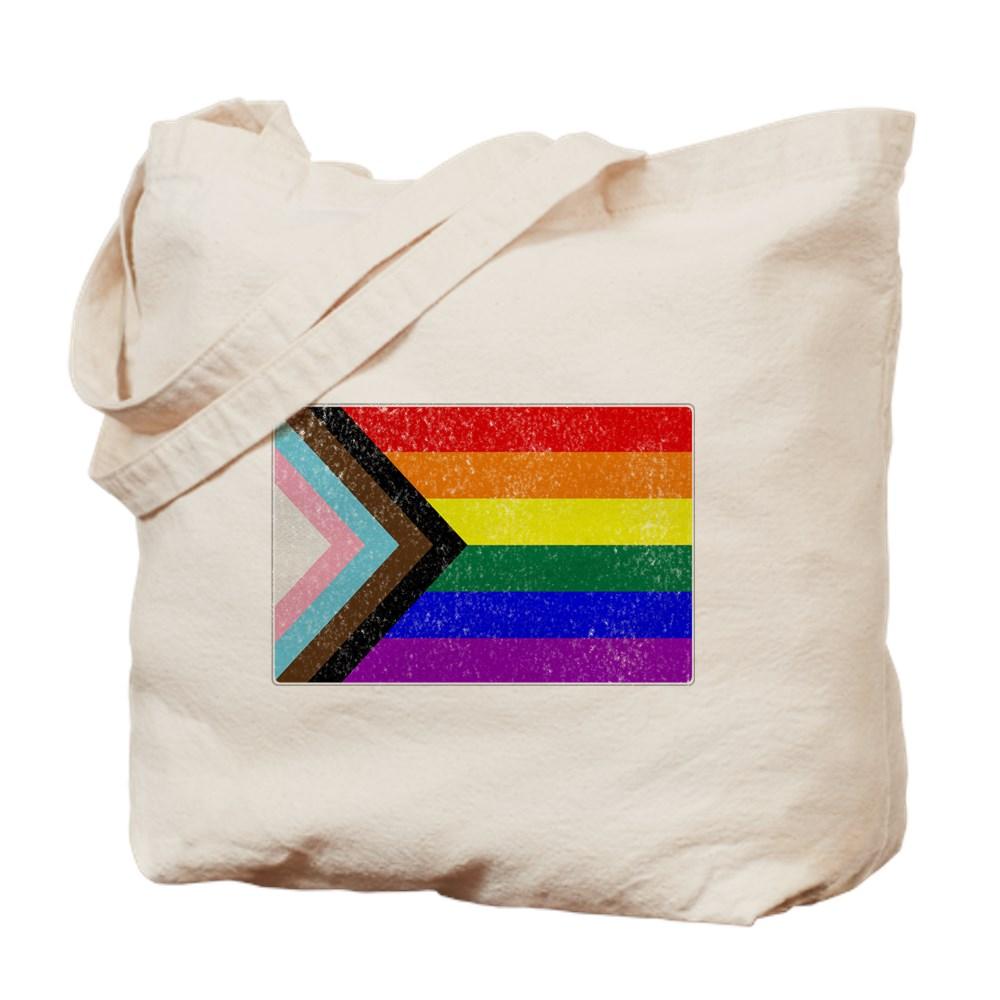 Distressed Progress LGBTQ Pride Flag Tote Bag