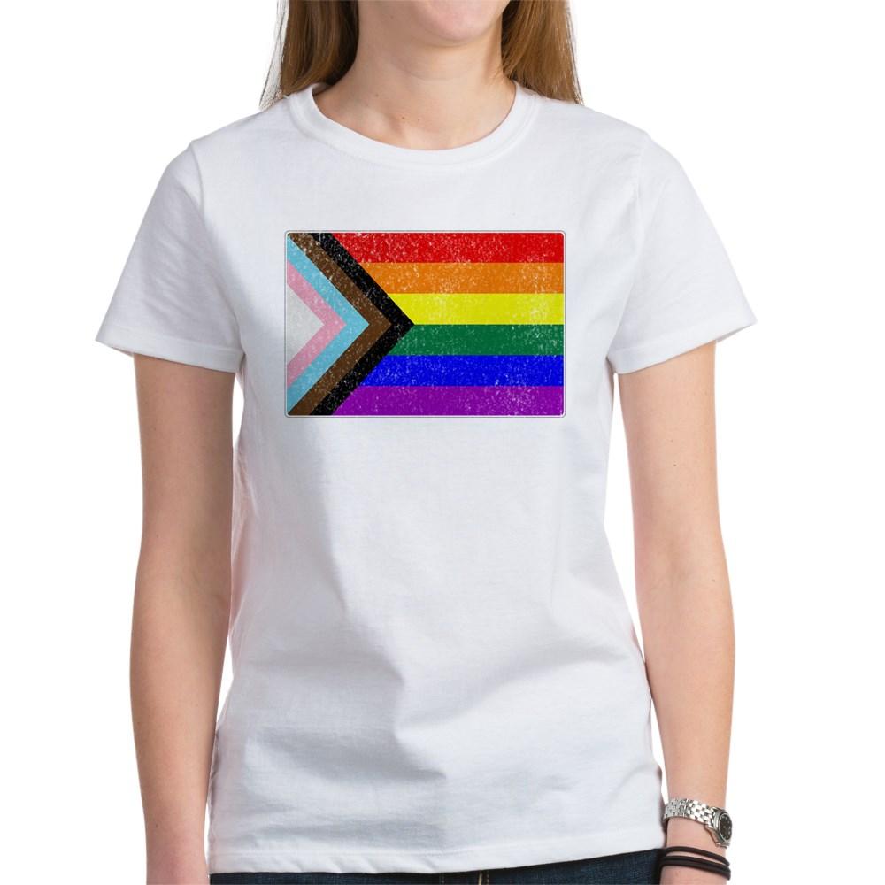 Distressed Progress LGBTQ Pride Flag Women's T-Shirt