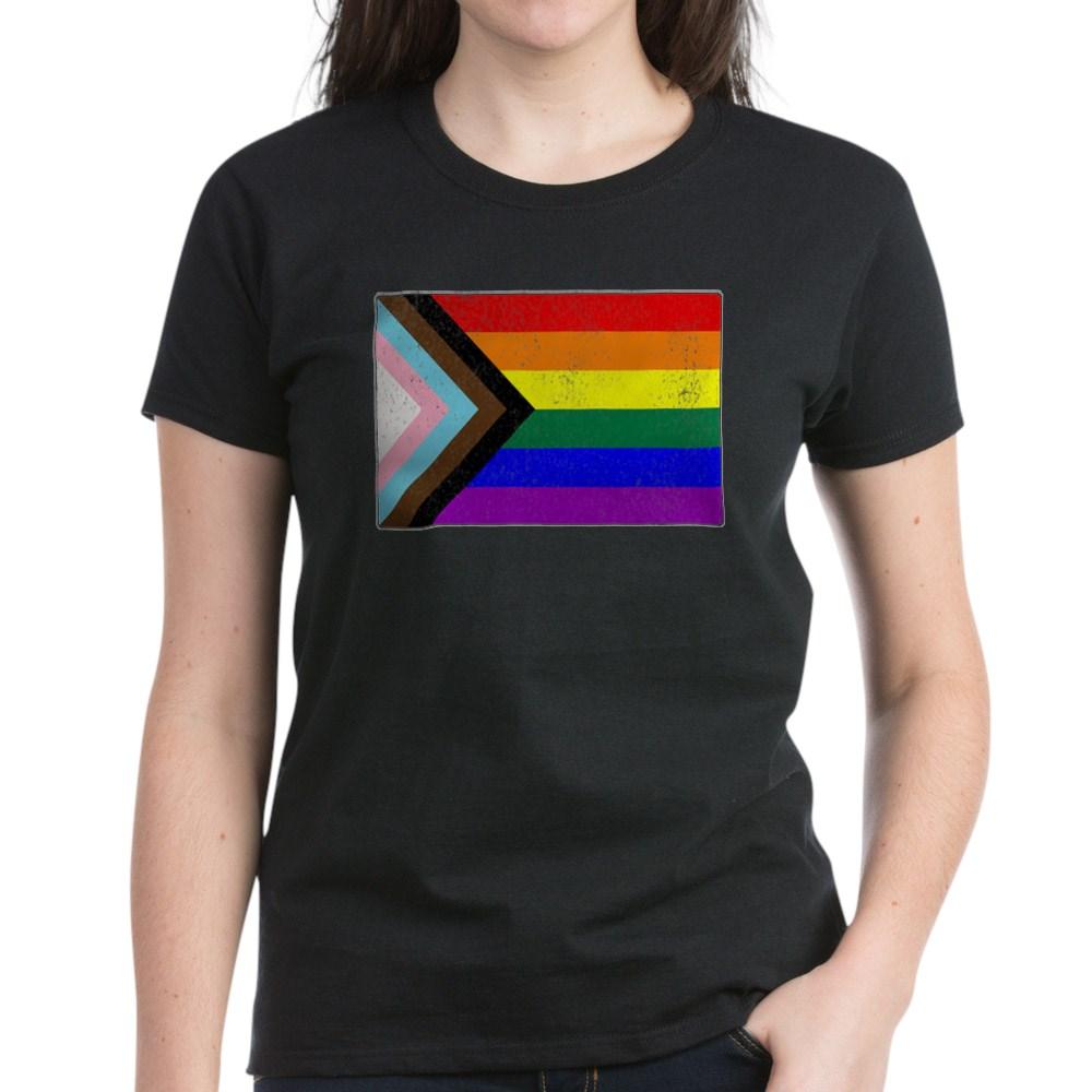 Distressed Progress LGBTQ Pride Flag Women's Dark T-Shirt