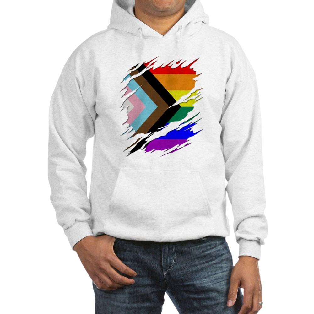 LGBTQ Progress Pride Flag Ripped Reveal Hooded Sweatshirt