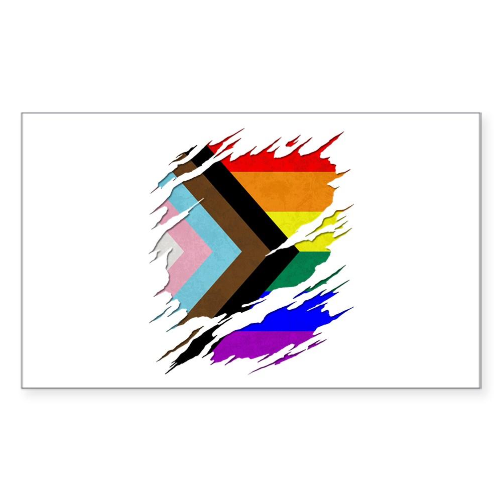 LGBTQ Progress Pride Flag Ripped Reveal Rectangle Sticker