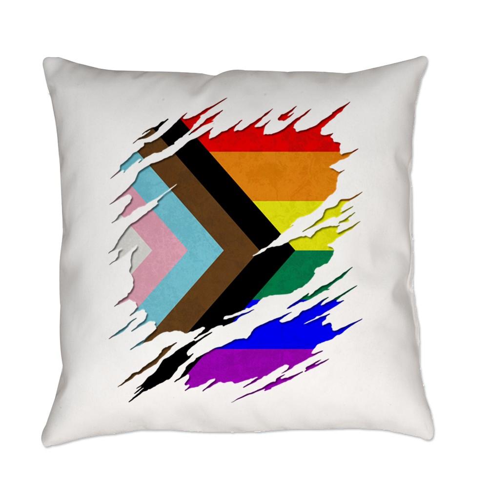 LGBTQ Progress Pride Flag Ripped Reveal Everyday Pillow