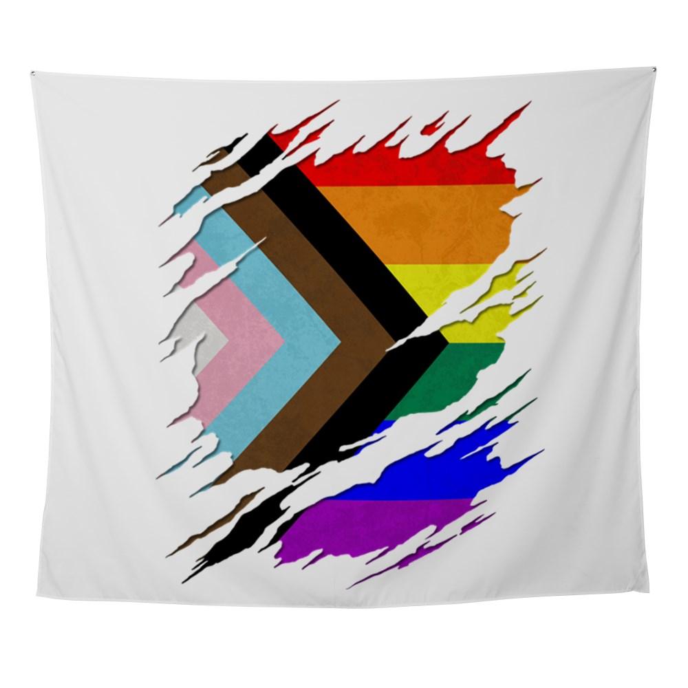 LGBTQ Progress Pride Flag Ripped Reveal Wall Tapestry