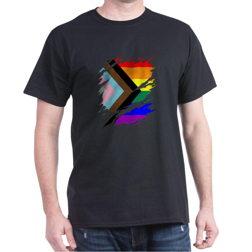 LGBTQ Progress Pride Flag Ripped Reveal Dark T-Shirt