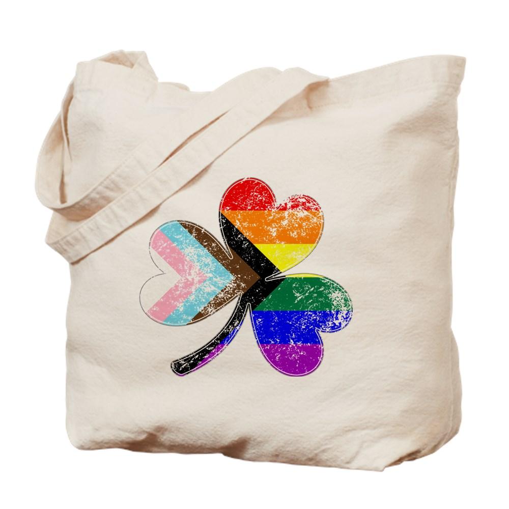 LGBTQ Progress Pride Shamrock Tote Bag