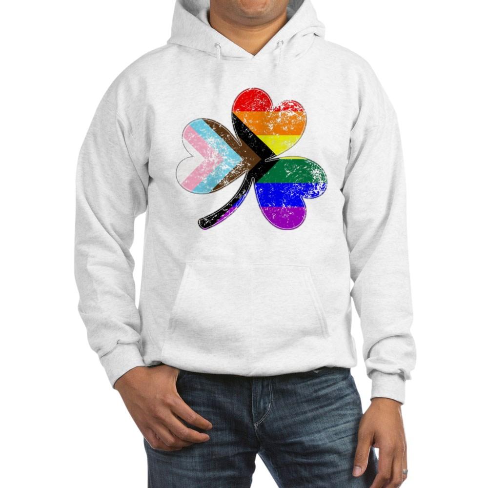 LGBTQ Progress Pride Shamrock Hooded Sweatshirt