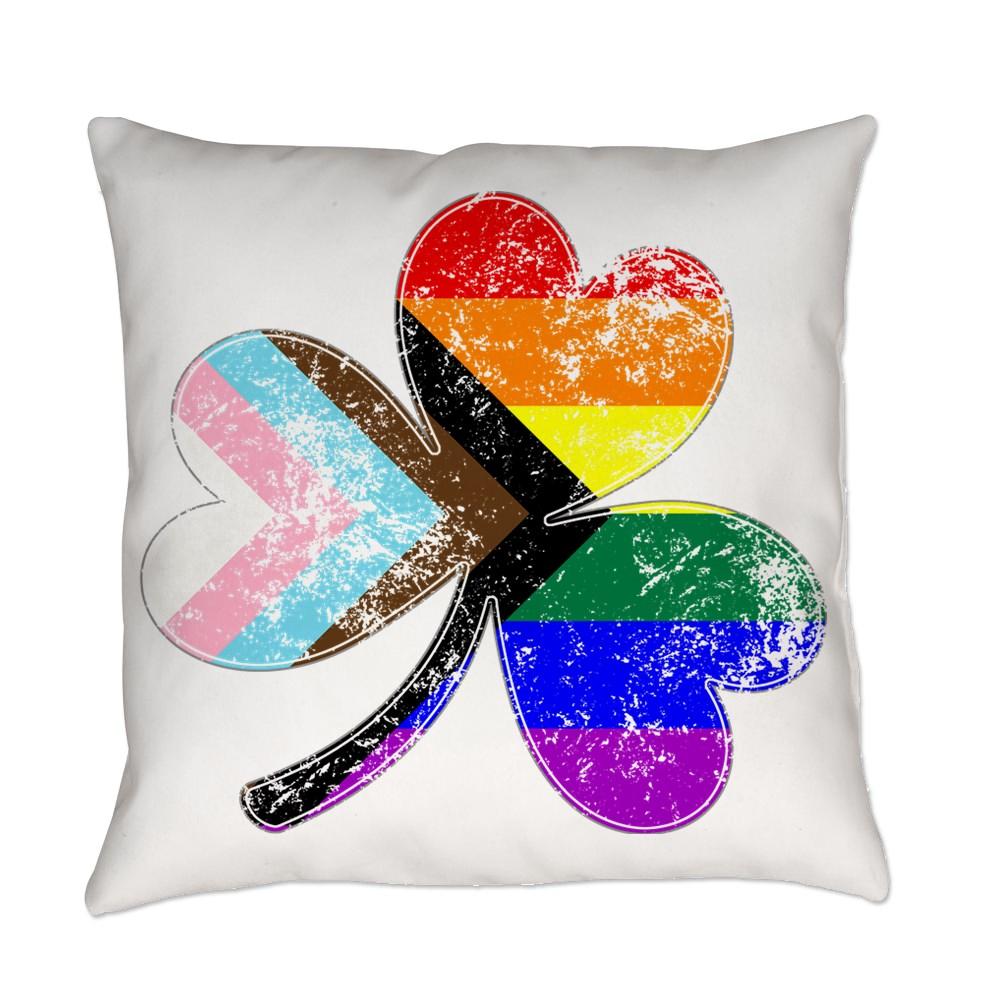 LGBTQ Progress Pride Shamrock Everyday Pillow