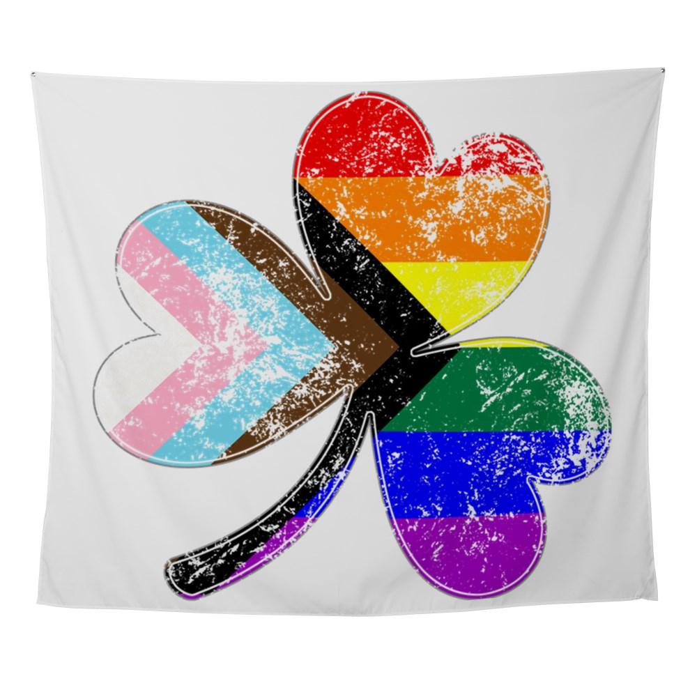 LGBTQ Progress Pride Shamrock Wall Tapestry