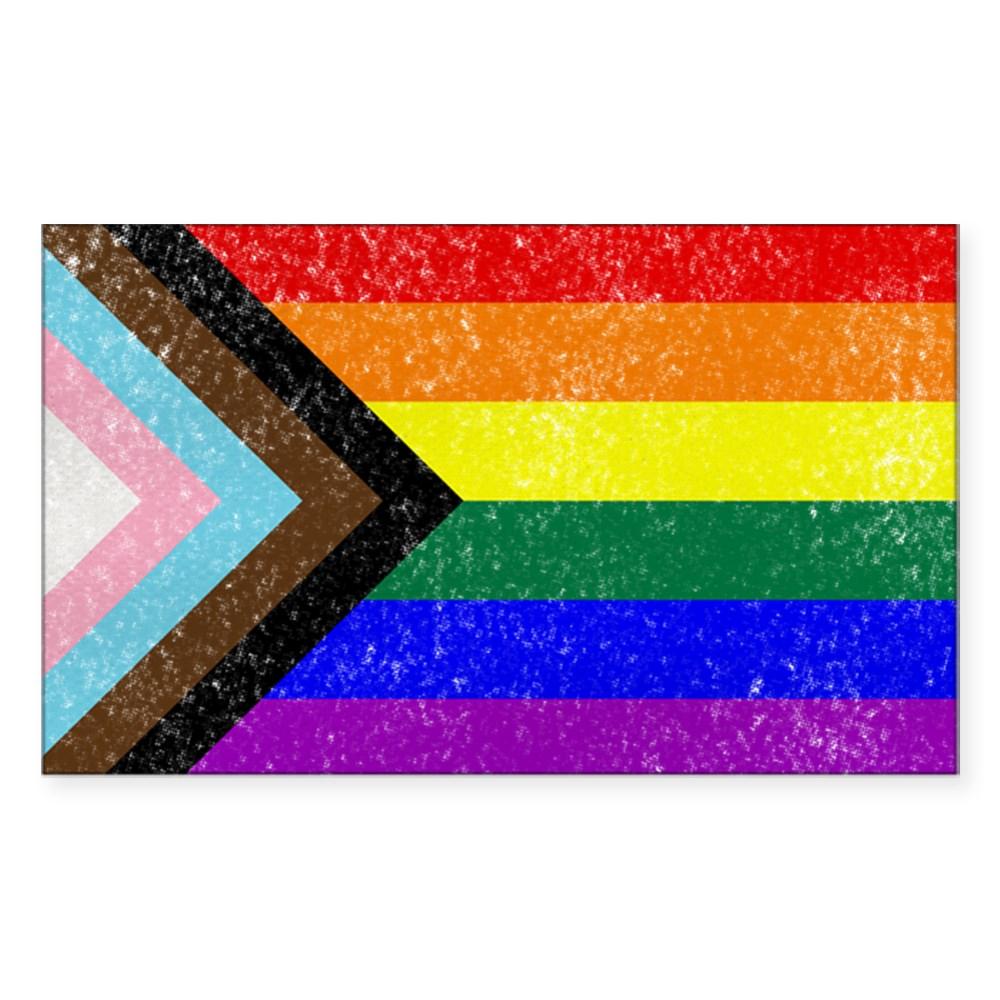 Distressed Progress LGBTQ Pride Flag Rectangle Sticker